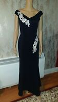 RRP £45 NEW QUIZ Navy And Cream Bardot Embroidered Maxi Dress, SZS 10, 18