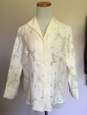 Talbots_womens shirt size 8__Ivory floral lace_3/4 sleeve