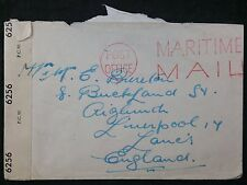 WW2 Active Service Maritime Mail Cover, HM Ship Cachet & Censor Tape - Liverpool