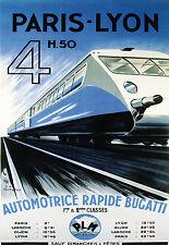Affiche chemin de fer PLM - Automotrice Rapide Bugatti