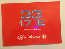 ALFA ROMEO 33 1.7 IE OWNERS HANDBOOK DRIVERS MANUAL 1989