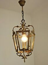 Vintage French Rococo Bronze 5 Sided Lantern With Etched Starburst Glass 2442