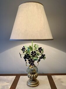 Vintage Italian Toleware Table Lamp, Painted Flowers And Gilt Wood, 1960s