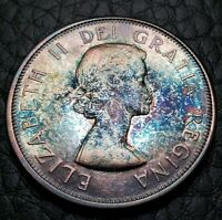 Toned Silver 1963 Canada 50 Cents 1/2 Dollar | UNC Condition