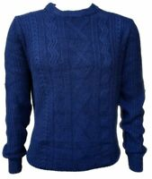 "Men`s Ex-Store Wool Blend Cable Knit Jumper Size Small 38"" Chest Blue"