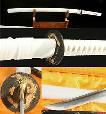 41'1060 CARBON STEEL FULL TANG DRAGON TSUBA WHITE JAPANESE SAMURAI SWORD KATANA