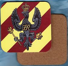 BRITISH ARMY THE KINGS HUSSARS REGIMENT DRINKS COASTER CORK BACKING 026