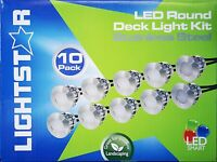 10 Piece Round LED Deck & Step Light Kit DIY Stainless Steel White Complete Kit!