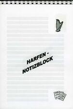 Notizblock Harfe Zupfinstrumente Musik 1-er/2-er/3-er oder 10-er-Pack.