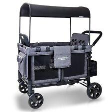 Wonderfold Wagon W4 Push Multi-Function 4 Passenger Quad Folding Stroller Gray