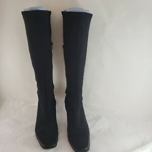Enzo Angiolini EA Flexo Black Stretch Leather Trim Kitten Heel Boots Size 6.5 M