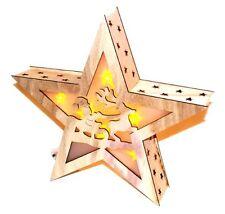 2x bois véritable étoile de Noël weichtsmann Guirlande lumineuse décoration