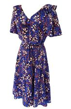 Karen Millen Blue Foxglove Floaty Angel Sleeve Floral Silk Dress UK 10 DE317