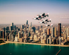 US AIR FORCE THUNDERBIRDS OVER CHICAGO 8x10 SILVER HALIDE PHOTO PRINT