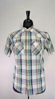 Patagonia Short Sleeve WESTERN  Plaid Shirt Mens Organic Cotton SZIE MEDIUM M
