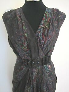 Country Road Multicoloured Dress 100% Silk Size 4