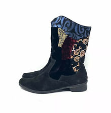 Think! Black Multi Suede Embroidered Boots Women's Size 9/40