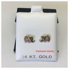 14k Real Yellow Gold Elephant Post Stud Shiny CZ Earrings Baby Kids Screw Back