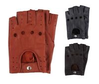 Retro Real Leather Finger less New Men Driving Cycle Unlined Gloves Chauffeur UK