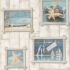 Old Frames White Wood Panel Wall DESIGNER Feature Vinyl Wallpaper Rasch 854107