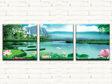 WATERLILLIES LARGE CANVAS PRINTS SET OF 3 60x60 (ON FRAME) WALL ART