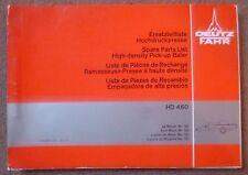Deutz Fahr Hochdruckpresse HD460 Ersatzteilliste