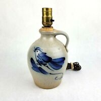 1987 Rowe Pottery Blue Decorated Bird Jug Lamp Salt Glaze