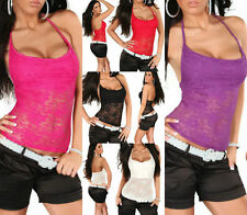 Women's Sleeveless Lace Waist Length Vest Top, Strappy, Cami Tops & Shirts