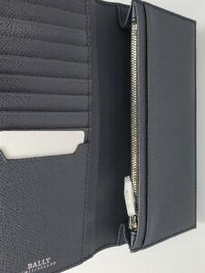 BALLY Dark Grey Bovine Embossed Leather Mialiro Long  Wallet NWT 555