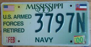 "USA Mississippi  embossed US Armed Forces ""NAVY"" car number plate  3787N"