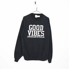 Vintage GOOD VIBES Graphic Print Sweatshirt Black Medium M