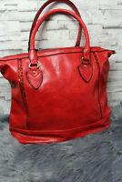 Italy Tasche Kunstleder Leder knallrot Vintage Handtasche Shopper rot NEU