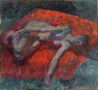 """Russischer Expressionist Öl Leinwand """"Akt"""" 100 x 95 cm"""