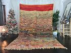 "Moroccan Vintage Boujad Handmade Rug 6'6""x10'5"" Checkered Red Berber Wool"