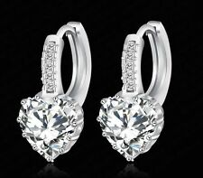 Real Platinum Plated Hoop Earring Inlay Zircon Brilliant Heart Wedding Earrings