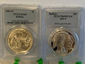 2001 P D Buffalo Dollar $1 PCGS MS69  and PR69DCAM - Beautiful Coins