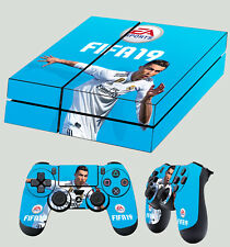 PS4 Skin Fifa 19 Football Cristiano Ronaldo Blue Sticker + 2 X Pad decal Vinyl