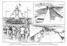 MIDDLESBROUGH Mr WH Smith MP opening the South Gare Breakwater - Old Print 1888