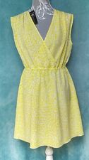 New Kardashian Kollection Shift Dress L Yellow Leopard Print Light Knee Length