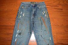 AKADEMIKS - Baggy Loose Fit Blue Jeans - Men Size 32 x 33 - MINT!! Splash Paint!