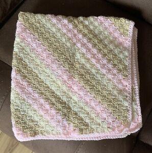 Handmade crochet baby blanket/car seat/pram Corner 2 Corner Ice Cream shades