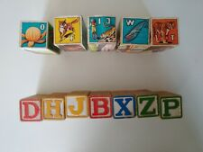 Vintage wood letter blocks, lot of 12, 2 different sizes/types