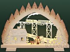 3D-LED-Schwibbogen klein 35x25cm Zugfahrt Wanderung Zug Eisenbahn Erzgebirge NEU