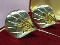 Stunning Art Nouveau Inspired Silver Stylized Flower Drop Earrings