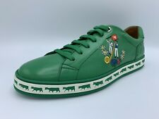 $600 Bally Animals Emeral Leather Sneakers size US 8.5 Made in Switzerland