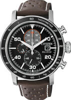 Citizen Eco-Drive Men's CA0641-08E Chronograph Brown Leather Strap 44mm Watch
