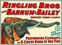 Ringling Brothers Barnum Bailey Circus Elephant Vintage Travel Art Poster Print