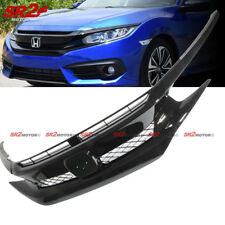 Black Front Hood Mesh Grill Grille Eyelid for 2016-2018 Honda Civic Coupe Sedan