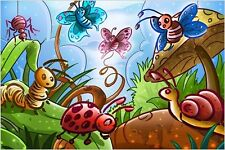 KIDS BUG CARTOON POSTER butterflies snail ladybugs COLORFUL ANIMATED 24X36