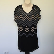 'KENJI' BNWT '10' BLACK LINED BATWING DRESS WITH DETAILED SEQION PATTERNS